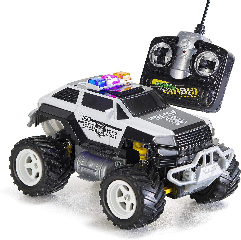 PREXTEX - Coche de Policía Teledirigido Monster Truck Juguete Radio Control para Niños, Control Remoto RC con Luces - Mejor Niños de 8 a 12 Años