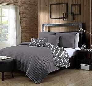 Geneva Home Fashion Griffin Quilt Set, Twin, Grey