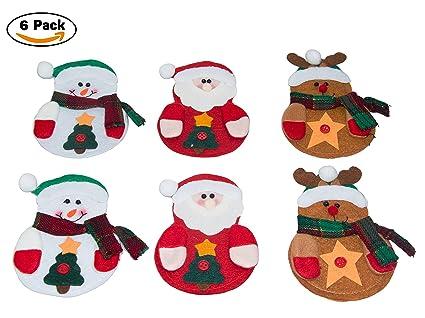 CrazySell - Set de 6 adornos para cubiertos de Papá Noel feliz para decorar la