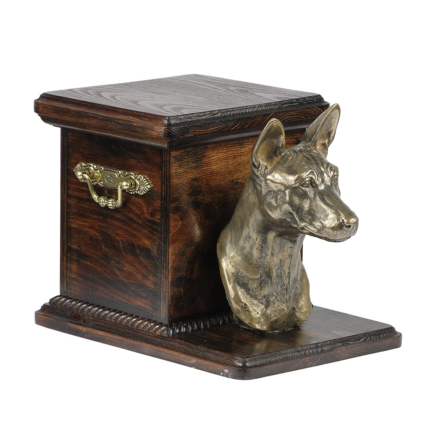 Basenji, memorial, urn for dog's ashes, with dog statue, ArtDog