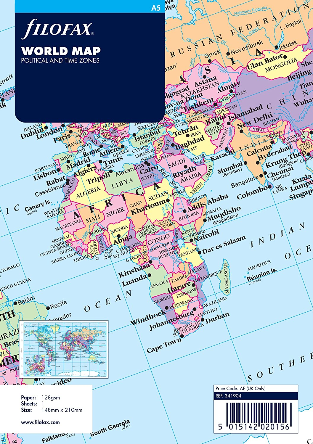Filofax A5 World Map OfficeCentre 341904