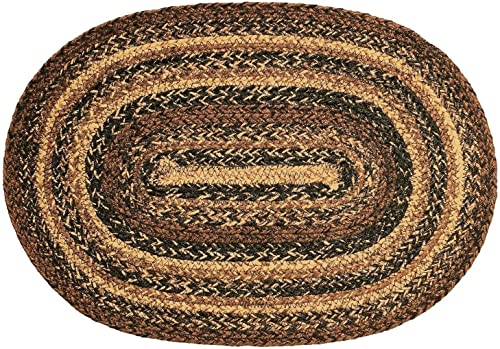 V0310-New IHF Braided Jute Oval Area Accent Rug Heritage Cappuccino 27X48