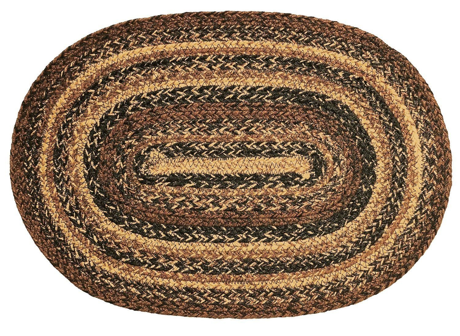 IHF Home Decor Oval Floor Carpet Braided Rug 20'' x 30'' Cappuccino Design Jute Fabric