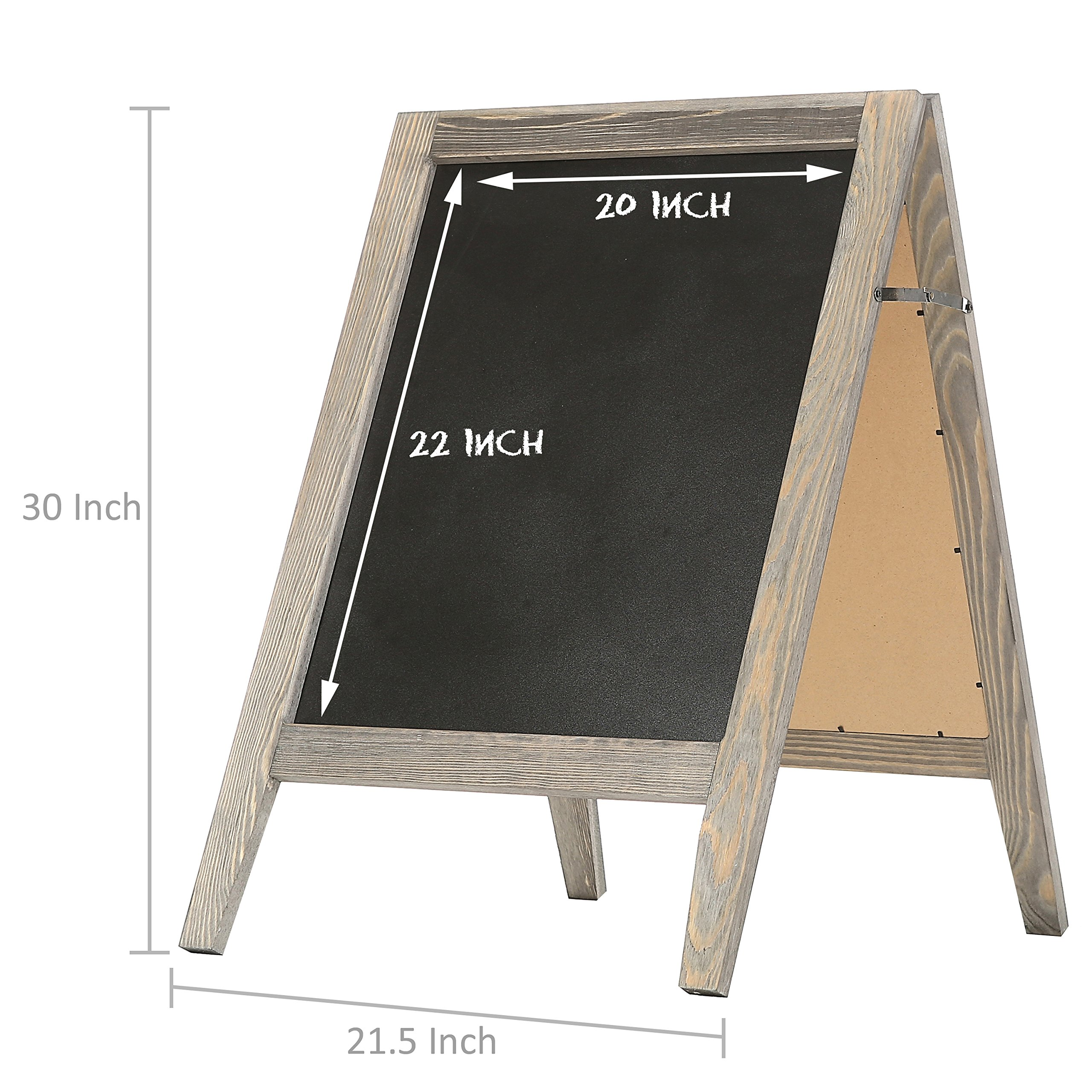 Rustic Stained Vintaged Wooden Freestanding A-Frame Double-Sided Chalkboard Sidewalk Sign by MyGift (Image #6)