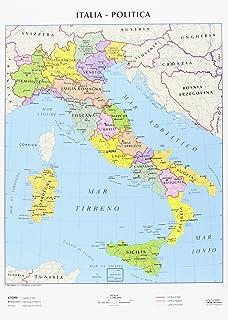 Cartina Geografica Italia Politica Con Province.Belletti M06pp 07 Carta Geografica Murale Amazon It Cancelleria