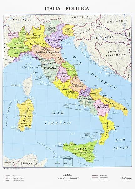 Foto Della Cartina Fisica Dell Italia.Cwr Cartina Geografica Italia Fisica E Politica Formato A4 Confezione Da 10