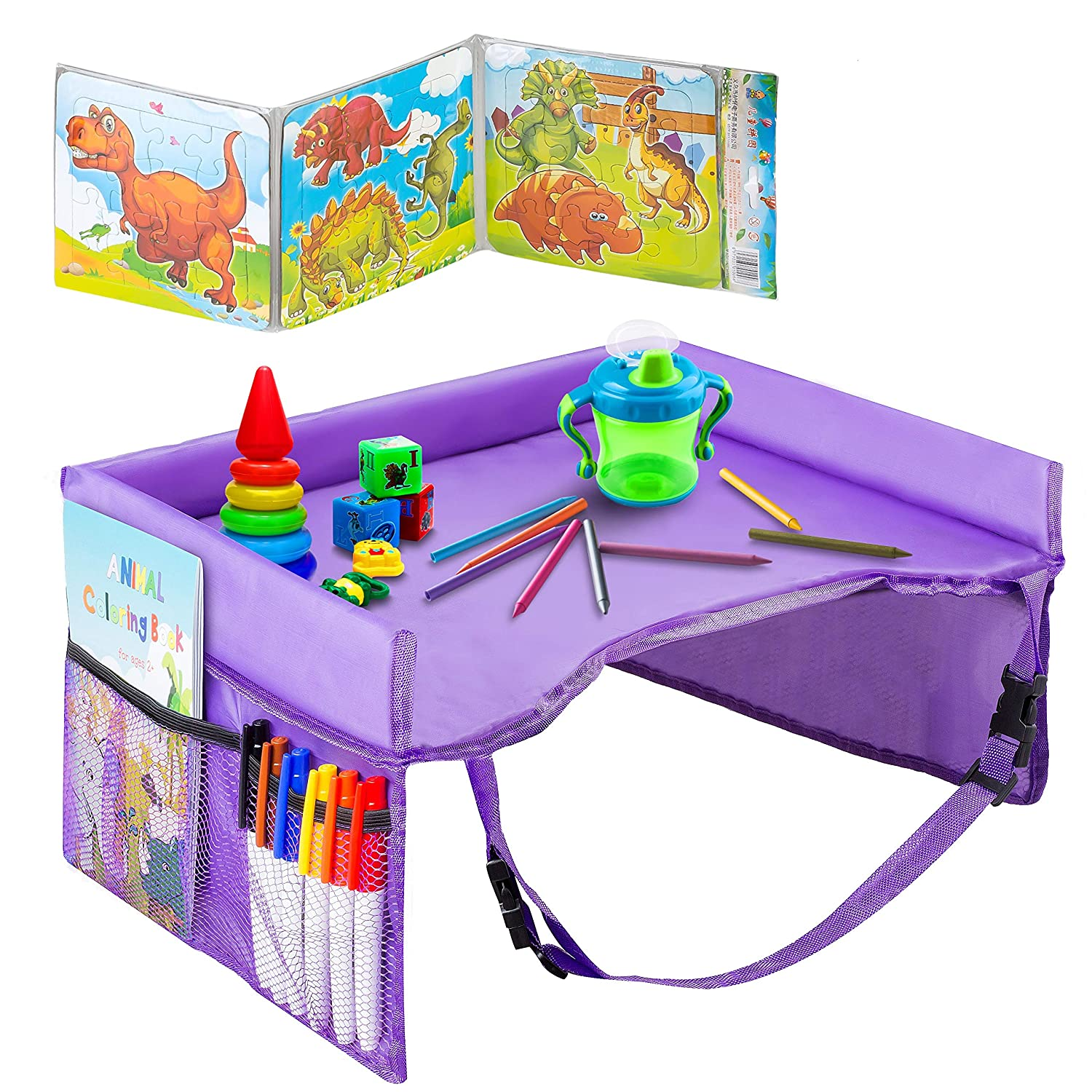 Kids Travel Tray - Waterproof, Portable Toddler Snack and Play Station with Mesh Storage Pockets - Activity Lap Desk for Car Seat, Stroller, Plane by EverythingINplace (Purple)