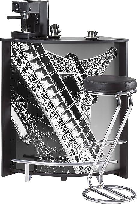 SIMMOB visio096no751 Tour Eiffel 750 751 Mueble Comptoir Bar Madera Negro 44,9 x 96,7 X 104,8 cm: Amazon.es: Hogar