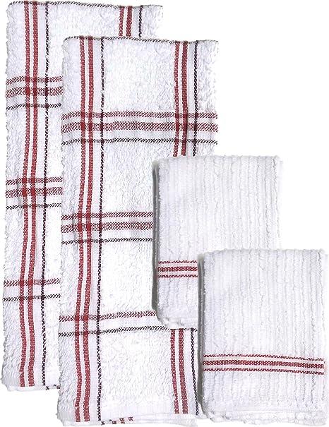 Toalla y paño de cocina blanco y rojo diseño de cuadros Heavy Duty absorbente rizo algodón