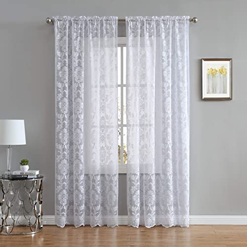 DecoSource Knitted Lace Curtain Medallion Design