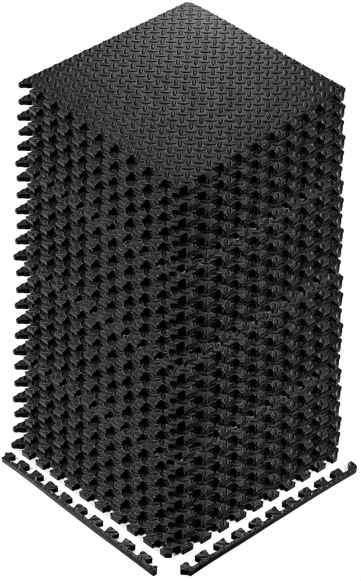 YOGU Puzzle Exercise Floor Mat EVA Interlocking Foam Tiles 24 Tiles Covers 96 SQ Foot Exercise Equipment Mat Protective Flooring for Home Gym (Black)
