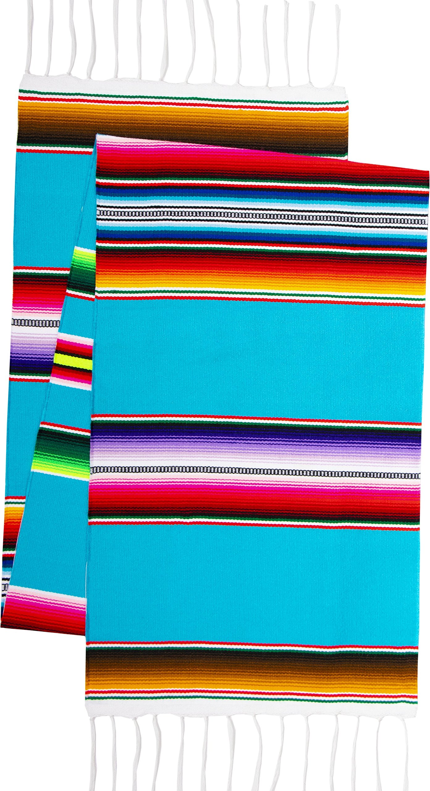 Genuine Mexican Premium Handwoven Bright MexicanTable Runner Saltillo Serape Colorful Striped Sarape 60'' x 12'' (Turquoise) by Threads West (Image #2)