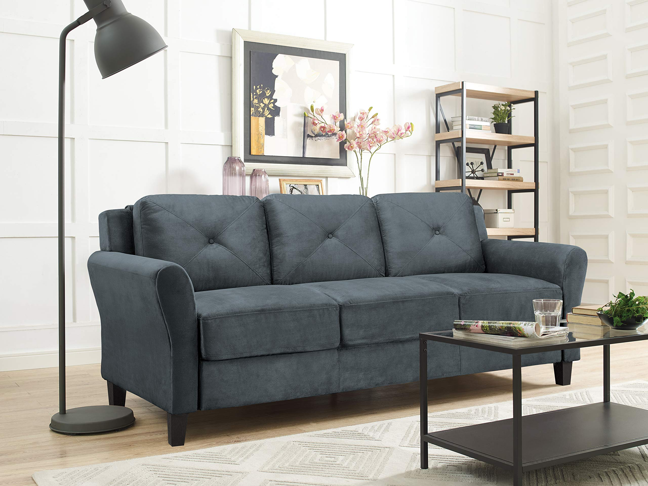 LifeStyle Solutions Harrington Sofa in Grey, Dark Grey by LifeStyle Solutions