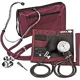 Veridian 02-12604 Adjustable Aneroid Sphygmomanometer with Sprague Stethoscope Kit, Adult, Burgundy