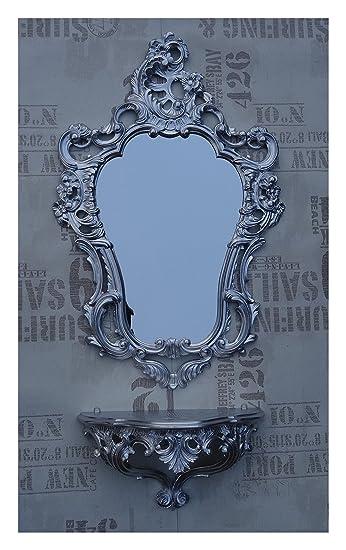 Antiquitäten & Kunst Konsolen Antik Wandspiegel Mit Wandkonsole Spiegel 50x76 Antik Barock Spiegelablage Weiß