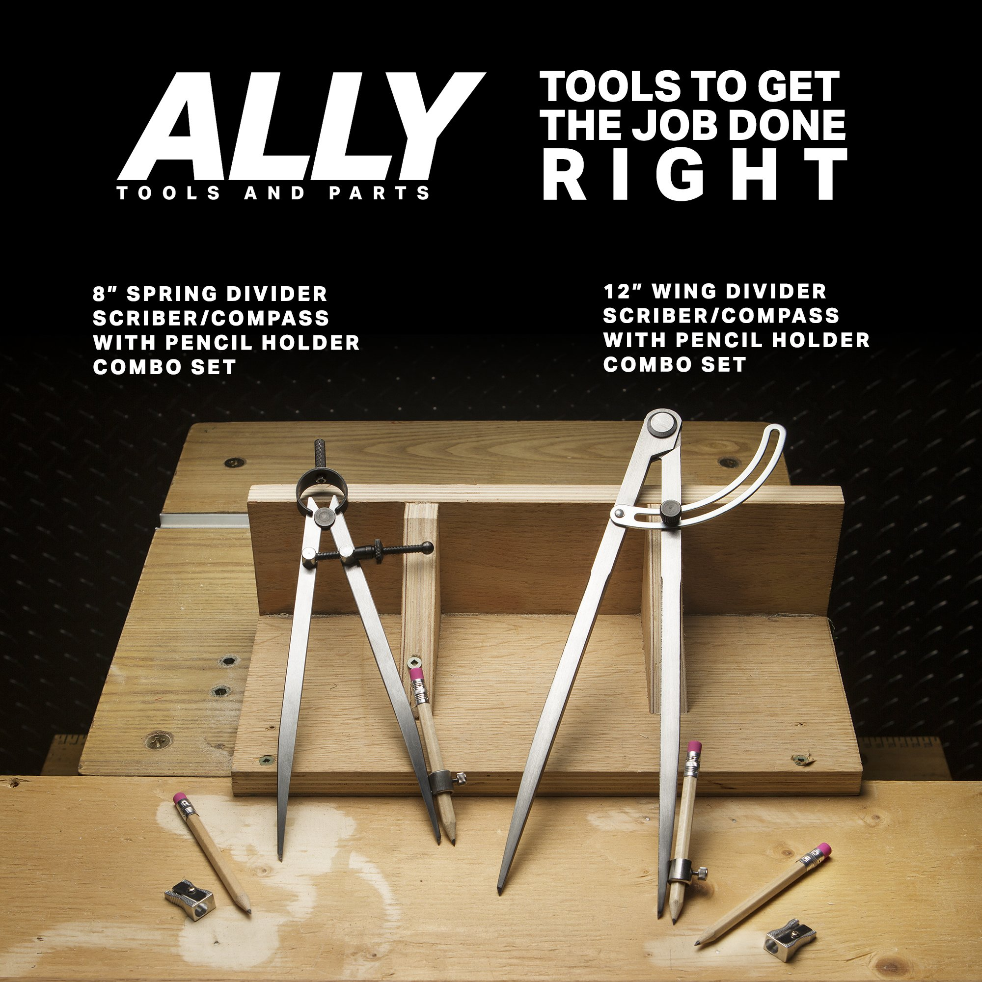 ALLY Tools 12'' Wing Divider Pencil Holder/Compass Scribe Kit INCLUDES Two Pencils and Metal Pencil Sharpener Ideal for Drawing Circles, Scribing Wood, Scribing Metal, Drafting, and Map Plotting by ALLY Tools and Parts (Image #7)