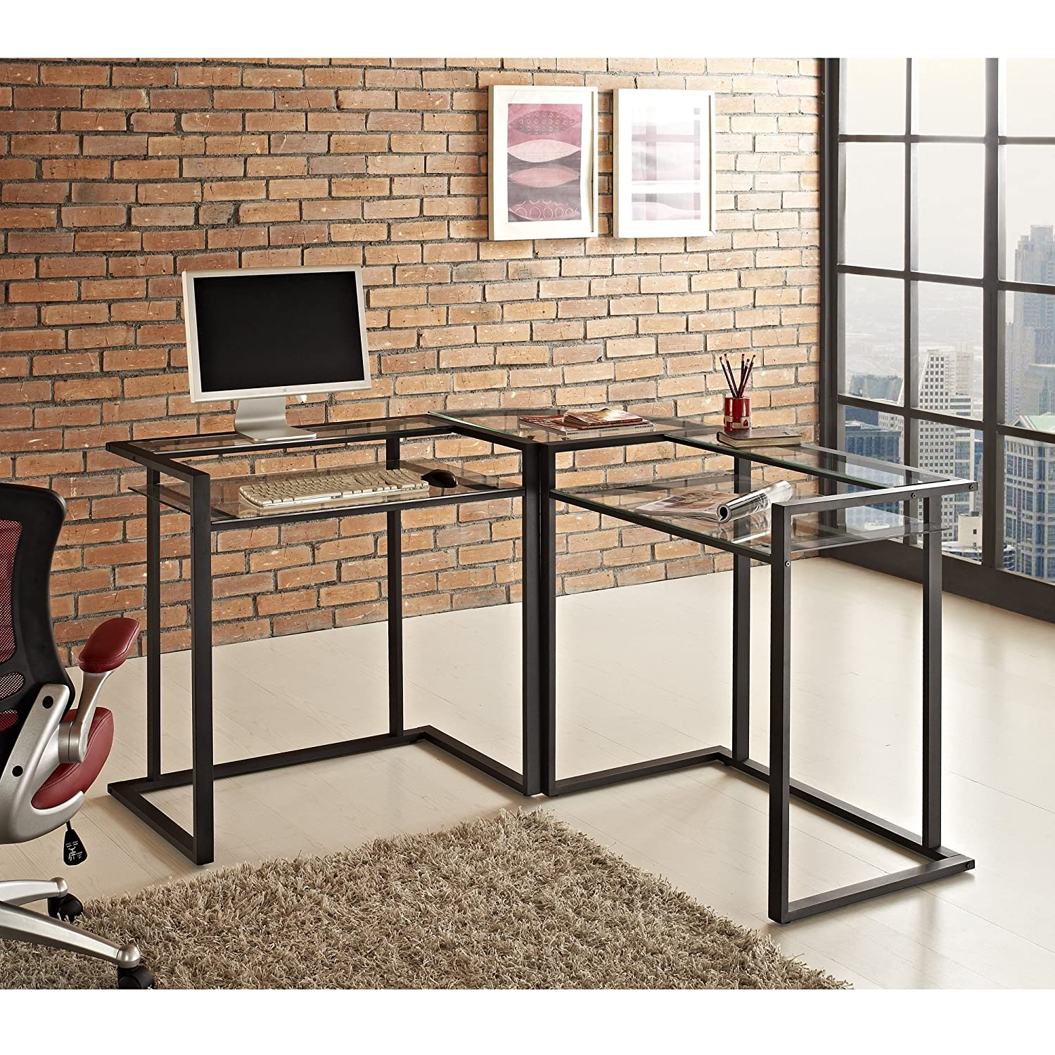metal computer desk with hutch amazon com we furniture 56