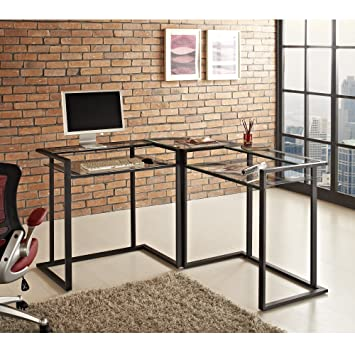 WE Furniture 56u0026quot; Metal Glass Corner Computer Desk   Black