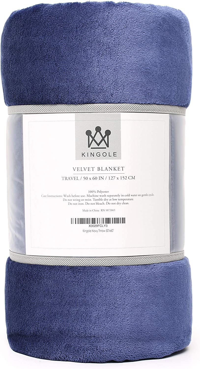 Kingole Flannel Fleece Microfiber Throw Blanket, Luxury Navy Travel/Throw Size Lightweight Cozy Couch Bed Super Soft and Warm Plush Solid Color 350GSM (50 x 60 inches)