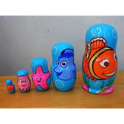 "Nemo"" Russian nesting Doll Set of 5 piece. Hand-painted in Russia.: Toys & Games,"