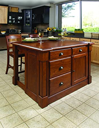 Aspen Rustic Cherry Kitchen Island with 2 stools by Home Styles