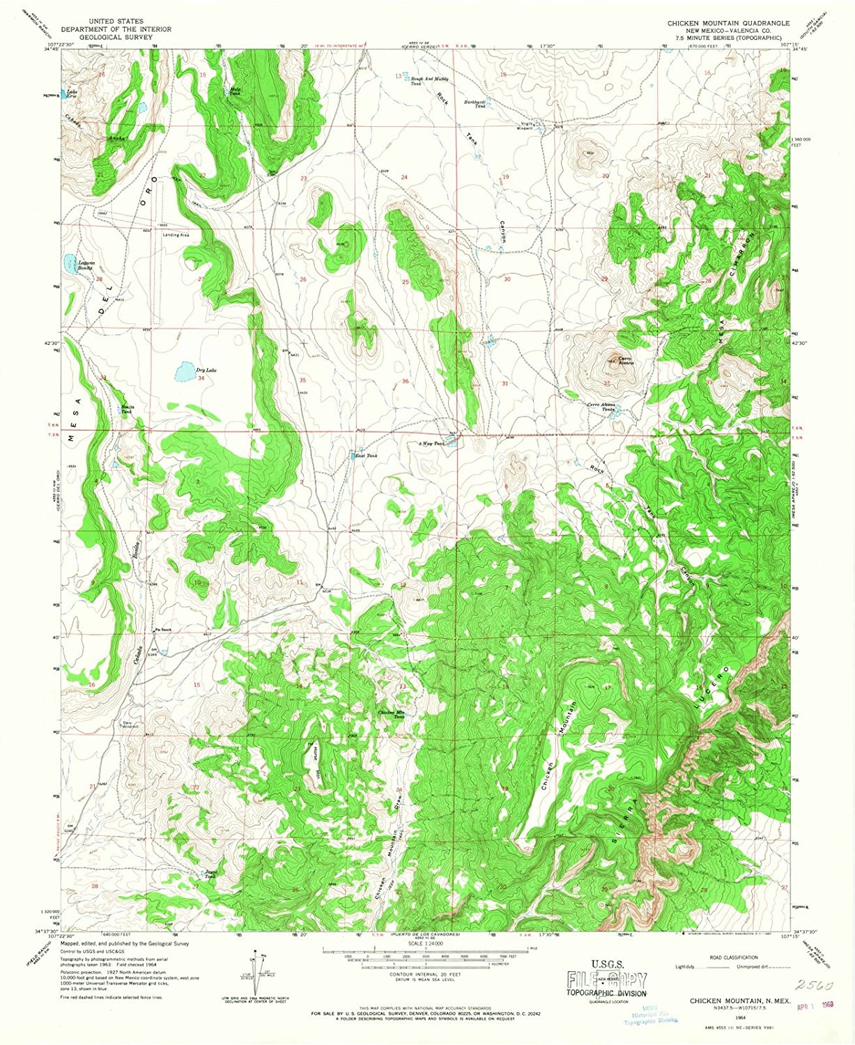 Amazon.com: New Mexico Maps - 1964 Chicken Mountain, NM USGS ...