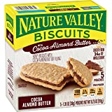 Nature Valley Biscuits, Cocoa Almond Butter, Breakfast Biscuits with Nut Filling, 5 Pouches, 1.35 oz