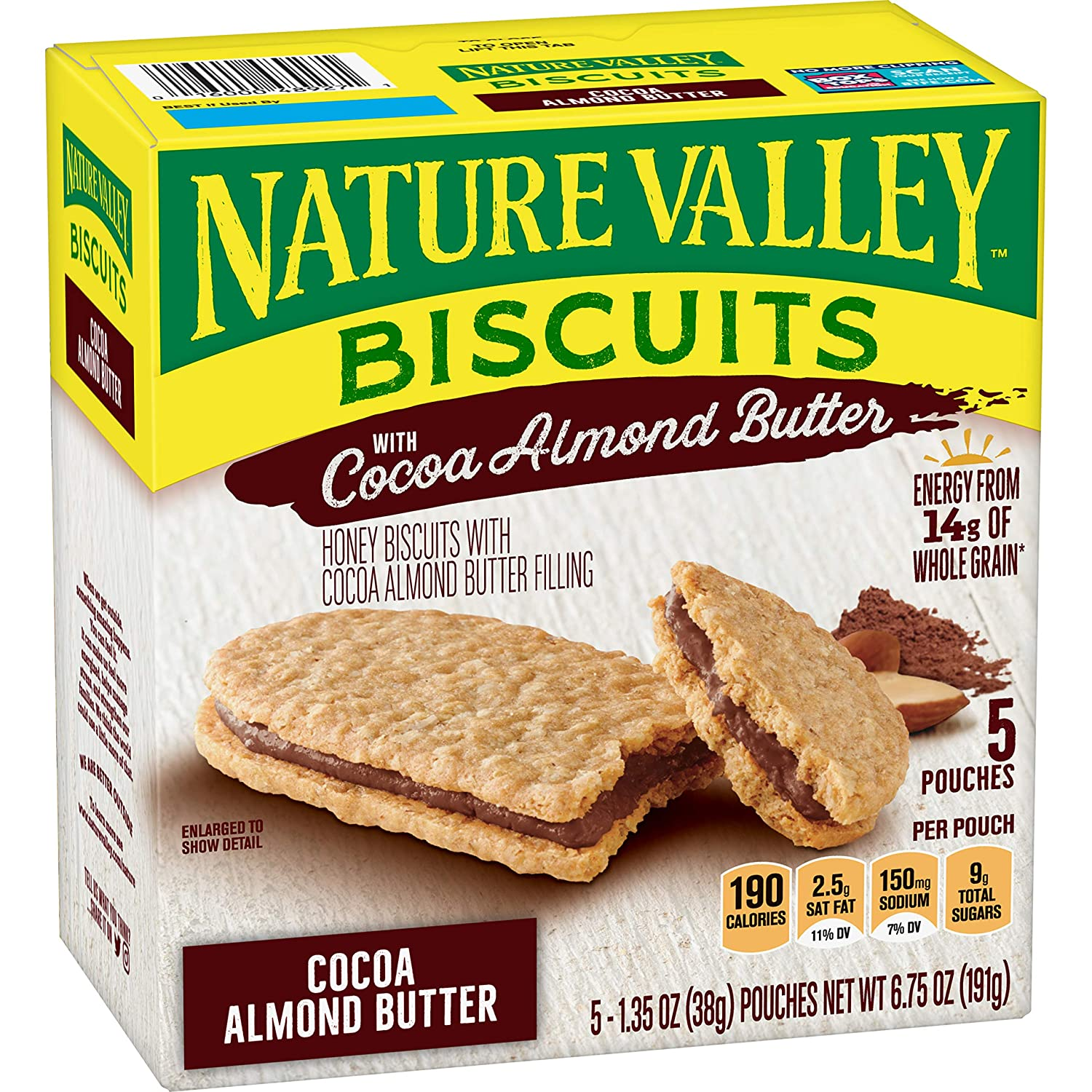 Nature Valley BiscuitsCocoa Almond Butter, Breakfast Biscuits with Nut Filling, 5 Pouches, 1.35 oz