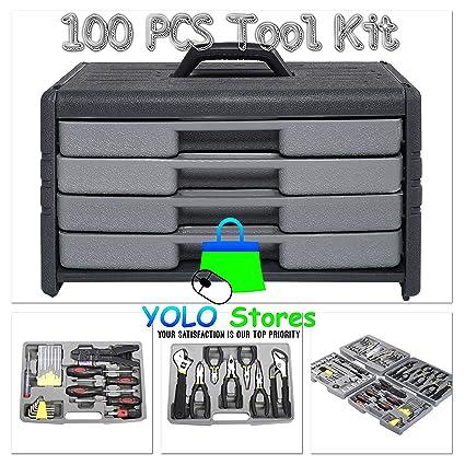 Multi Tool Kit 100Pcs Mechanic Garage Set Repair Box Tools w/Case