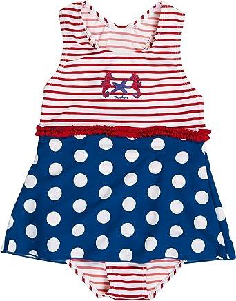 072c0eaf Playshoes Girl's UV Sun Protection Ruffle Skirt Bathing Suit Seahorse  Swimsuit, (Blue/White