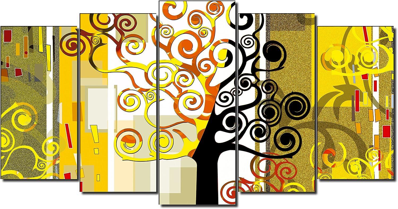style abstrait arbre de la vie Gustave Klimt 150x80cm Dekoarte 81 Tableau moderne sur toile mont/é sur cadre en bois 5 pi/èces