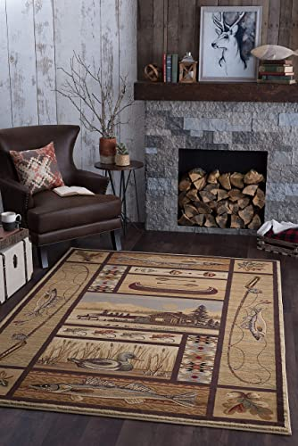 Lodge Retreat Novelty Lodge Pattern Beige Rectangle Area Rug