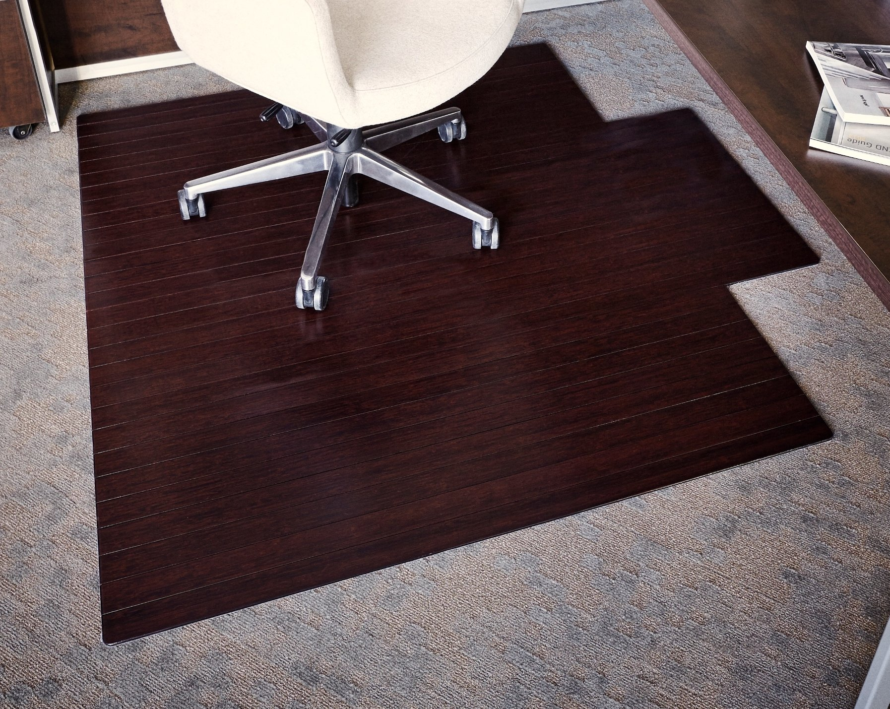Anji Mountain AMB24009 Roll-Up Bamboo Chair Mat with Lip, Dark Cherry, 55 x 57, 5mm Thick