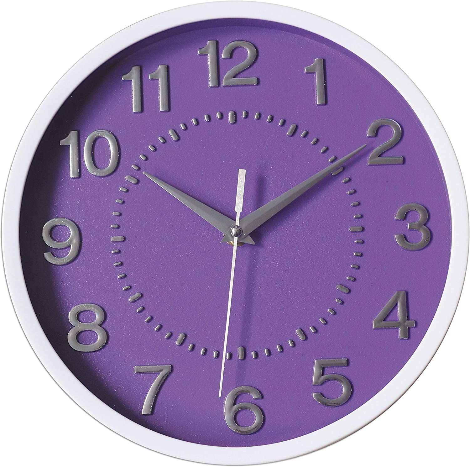 """Decor Silent Wall Clock 10"""" Purple Dial 3D Numbers Non-ticking Decorative Wall Clock Battery Operated Round Easy to Read For School/Home/Office/Hotel"""