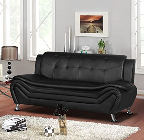 Container Furniture Direct Arul Leather Air Upholstered Mid Century Modern  Sofa, 77.5\
