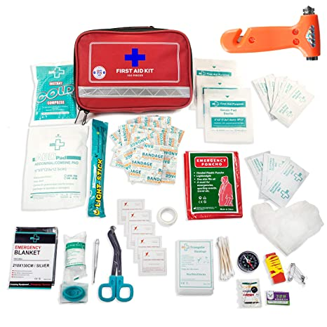 100 Piece Home First Aid Kit – Ultra Lightweight Compact First Aid Kit &  Car First Aid Emergency Kit – Survival First Aid Kit for Camping, Hiking,