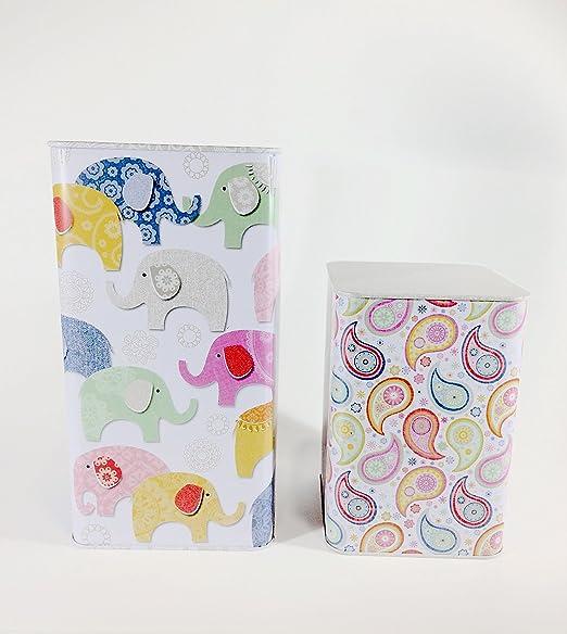 ARTEBENE - Juego de 2 cajas metálicas decoradas con ilustraciones caprichosas. La caja pequeña se encaja en la caja ...