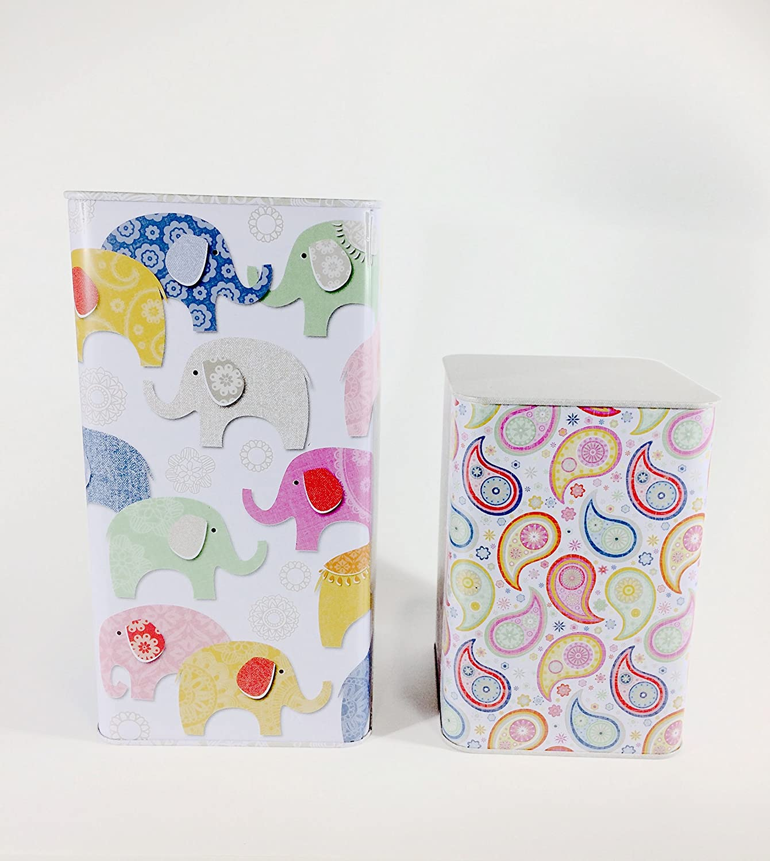 ARTEBENE - Juego de 2 cajas metálicas decoradas con ilustraciones ...