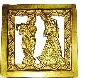 Purpledip Brass Wall Hanging Plaque Radha Krishna: Dokra Craft Tribal Art Decor Statue (11438)