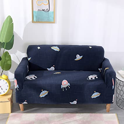 WATTA Stretch Elastic Sofa Slipcover 4 Seater Sofa Couch Polyester Spandex  Cartoon Printing Fabric Sofa Protector (4 Seat Sofa, Space in Space)