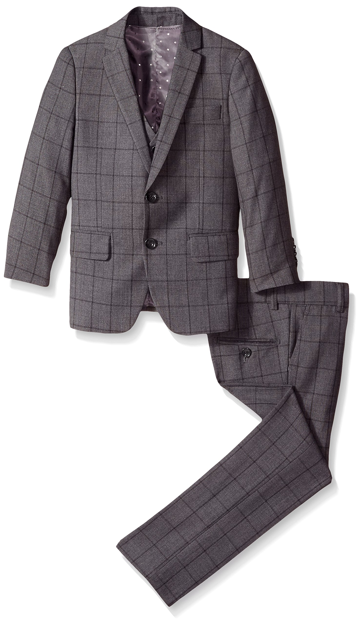 Isaac Mizrahi Little Boys' 3 Piece Check Suit, Grey, 3 by Isaac Mizrahi