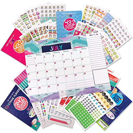 Reminder Binder 2019-2020 Monthly Desk Calendar + Event Stickers Variety Set (Total of 1850 Stickers) with Tear-Off Lists, Scheduling Tools, Bill Pay ...