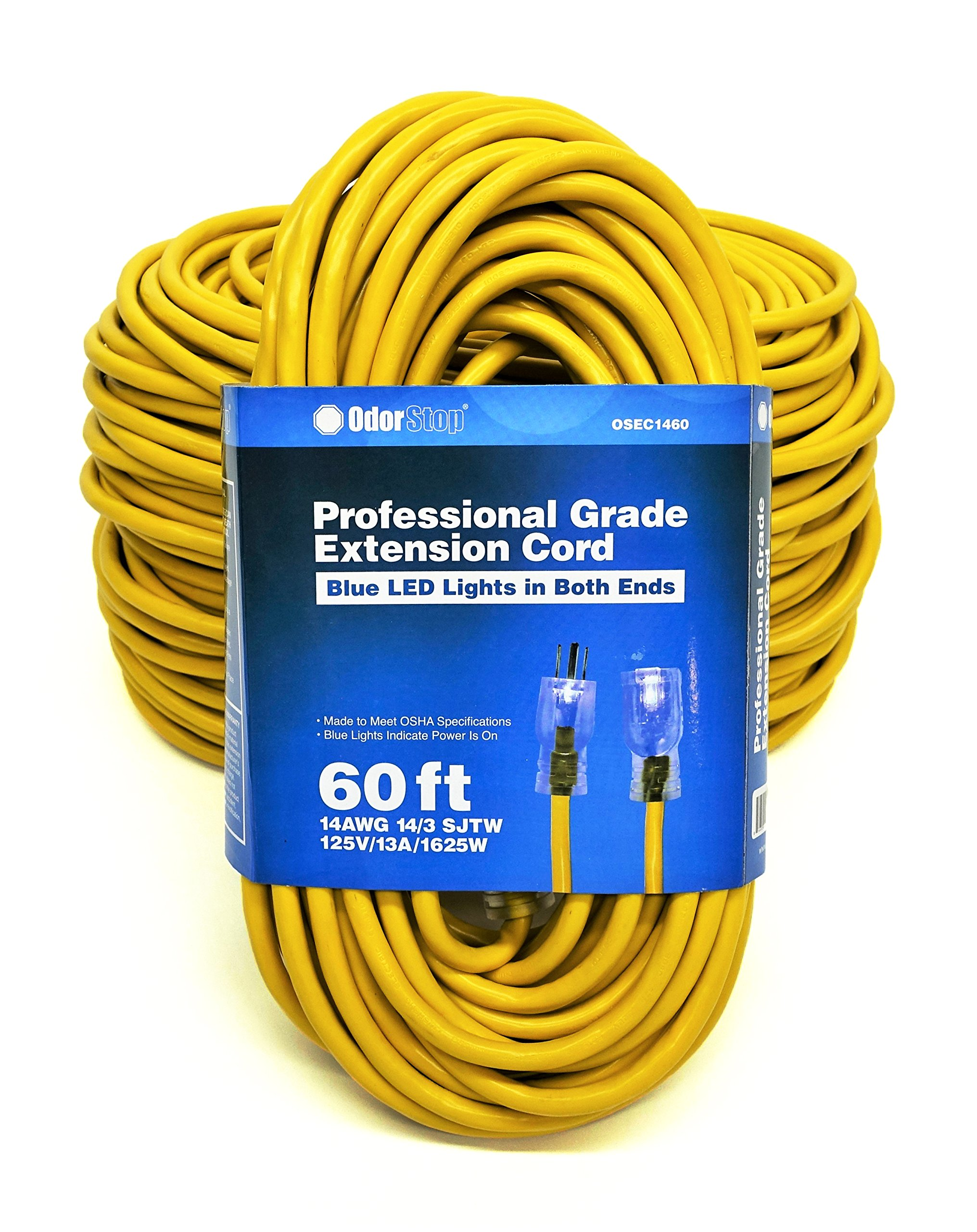 OdorStop OSEC1460 - 60' Yellow 14/3 SJTW Professional Grade Extension Cord with Blue LED Lights on Both Ends (4-pack)