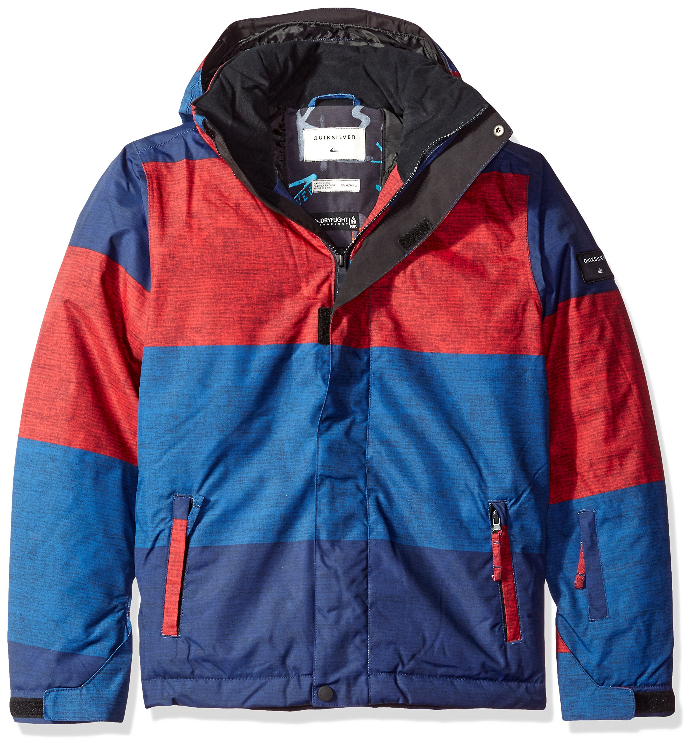 Quiksilver Big Boys' Mission Printed Youth Snow Jacket, Sample Stripe Racing Red, 10/M by Quiksilver