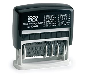 "2000 PLUS 12-in-1 Self-Inking Date and Phrase Stamp, REC'D, ANS'D, ENT'D, PAID, BAL, CHG'D, SHIP'D, RET'D, C.O.D, CANC, FILLED, FILED, 1-3/4"" x 1/4"" Impression, Black Ink (011227)"