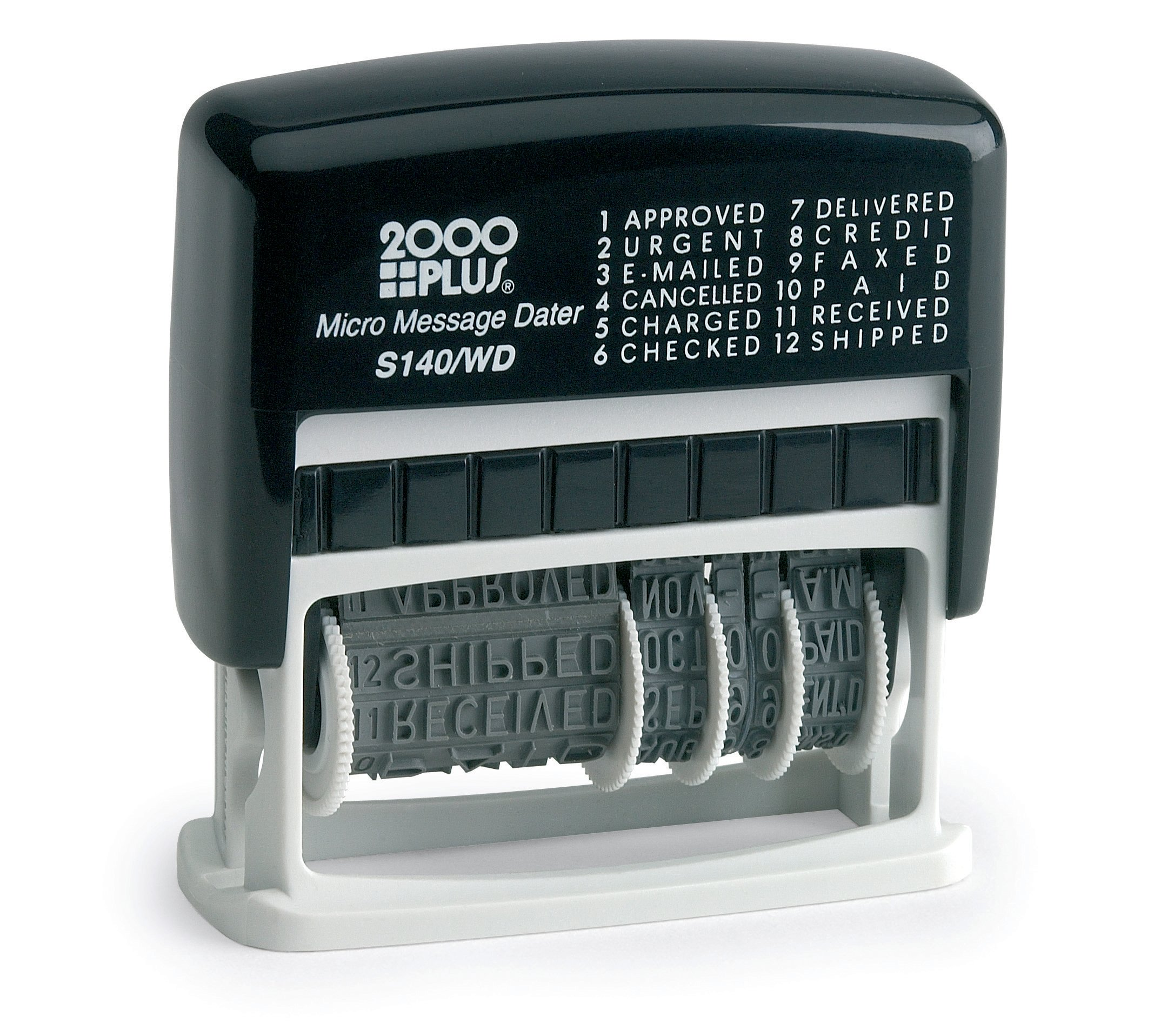 2000 PLUS 12-in-1 Self-Inking Date and Phrase Stamp, Black Ink (011227)