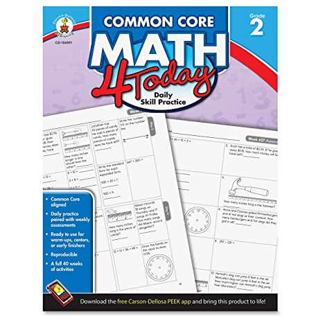 Carson Dellosa Common Core 4 Today Workbook, Math, Grade 2, 96 ...