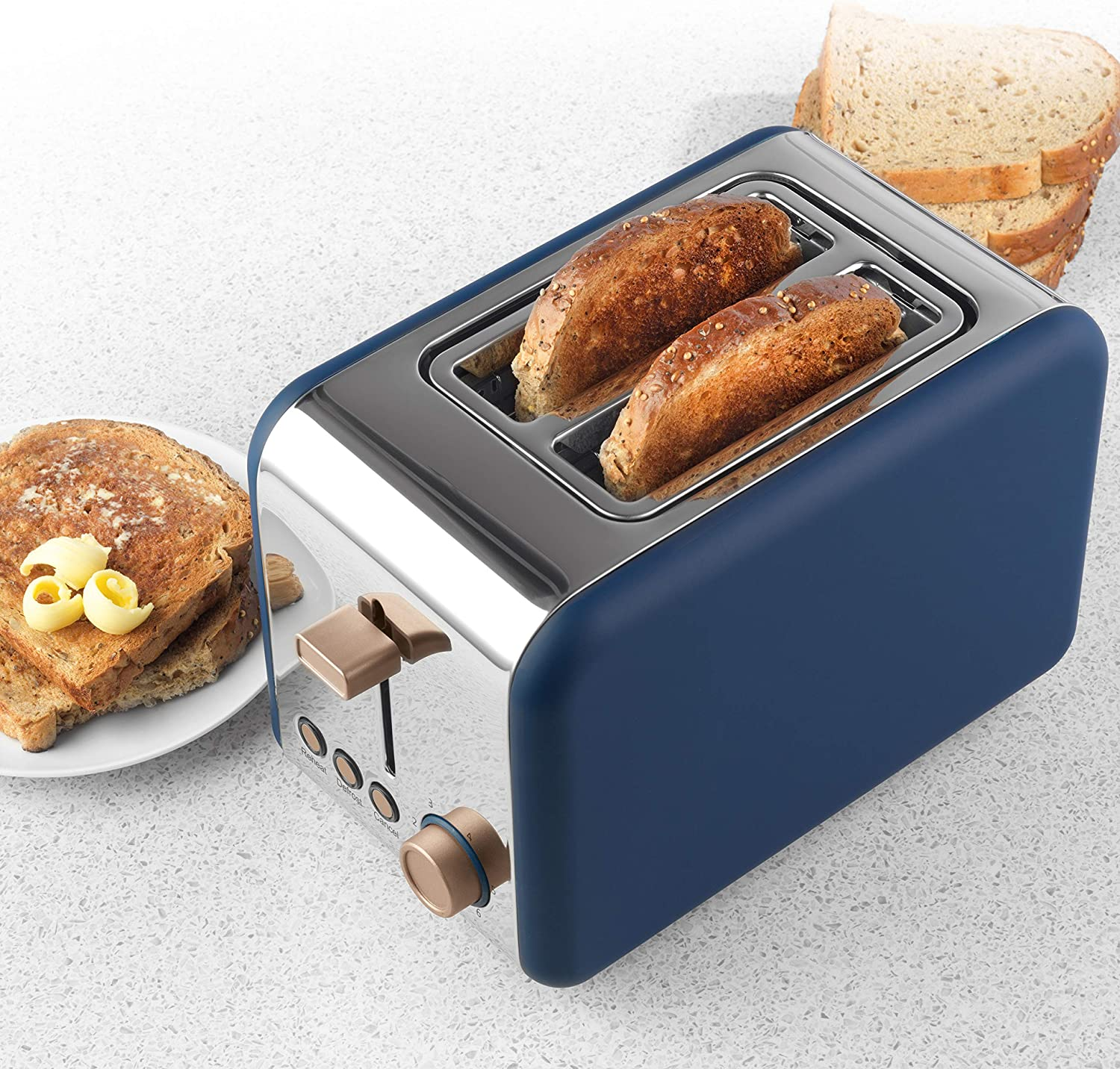 Salter EK3932IND Opulence 2-Slice Toaster | Wide Slots | Defrost, Reheat and Cancel Functions | Built-in Cord Storage | 850 W | Indigo Indigo