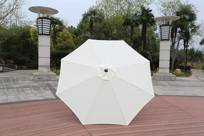 Robust Steel Cream Gardens and Patios GlamHaus Garden Parasol Umbrella for Outdoors 2.7m