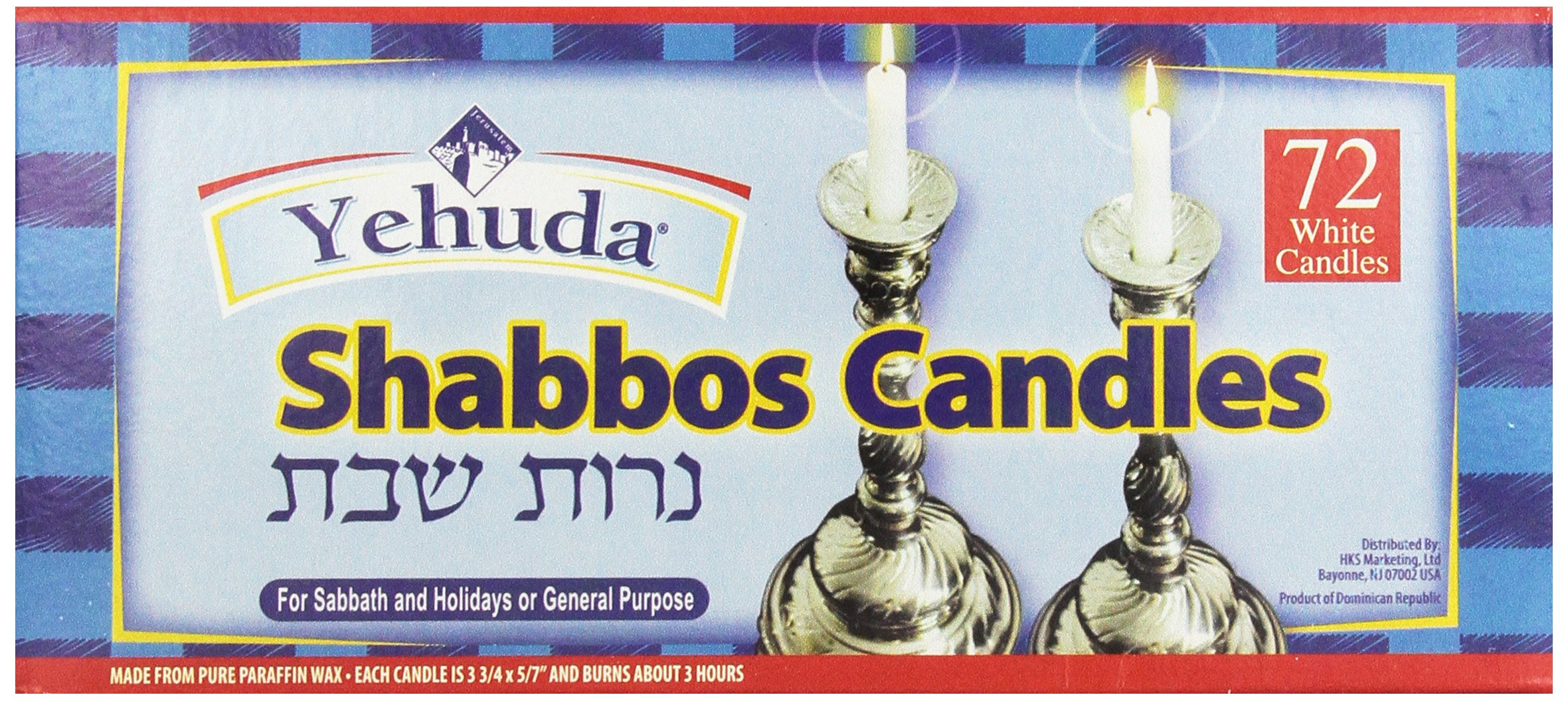 Yehuda 3 Hour White Shabbat Candles, 72 ct, Traditional Shabbos Candles